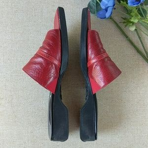 Brighton Shoes - Brighton Beth 9 Red Slip On Sandals Mules Shoes
